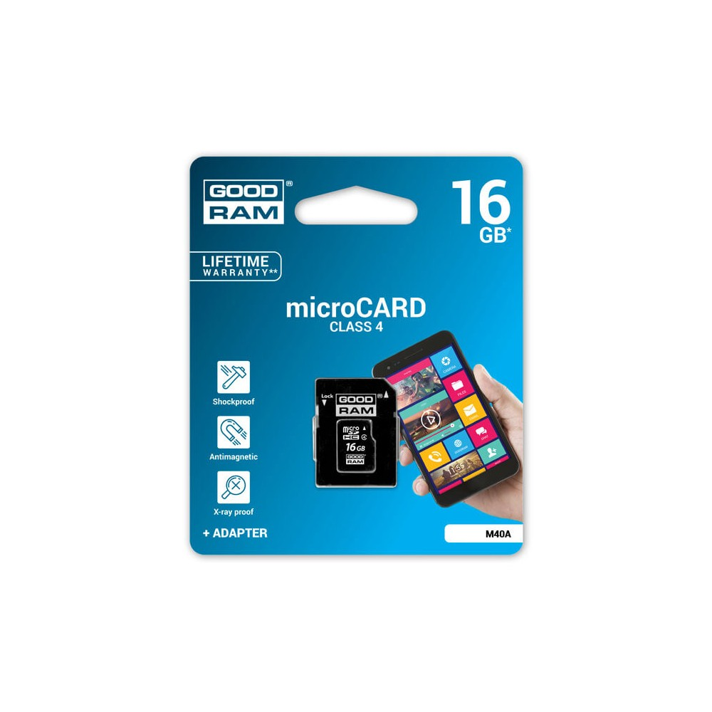 GOODRAM - MICRO SD CARD 16GB CLASS 4+ ADAPTER - M40A-0160R11 prix tunisie