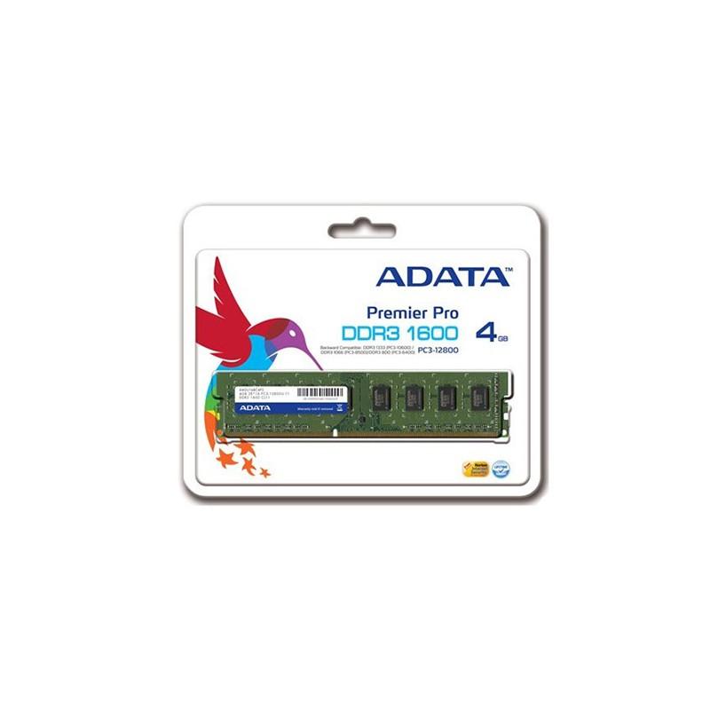 ADATA - Barette Mémoire 4GB DDR3 pour Ordinateur de bureau - AD3U1600W4G11-R prix tunisie