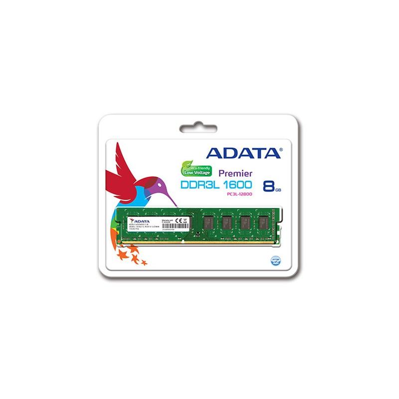 ADATA - Barrette mémoire 8go ddr3 low voltage pour pc de bureau - ADDU1600W8G11-R prix tunisie