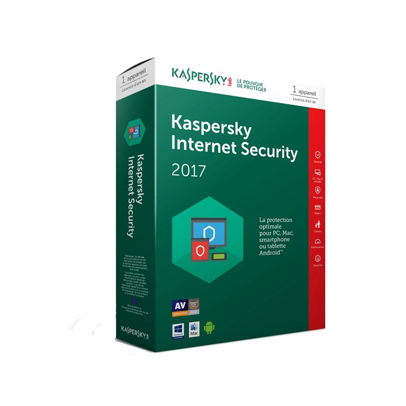 KASPERSKY - Internet Security 2017- Licence 1 poste 1 an prix tunisie
