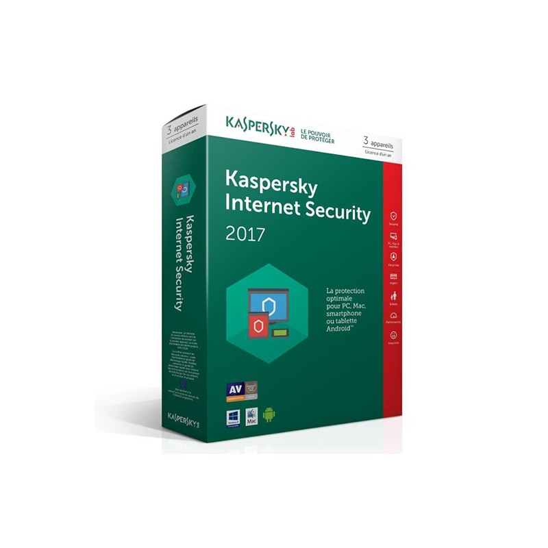KASPERSKY - Internet Security 2017 - 1 an / 3 Pcs prix tunisie