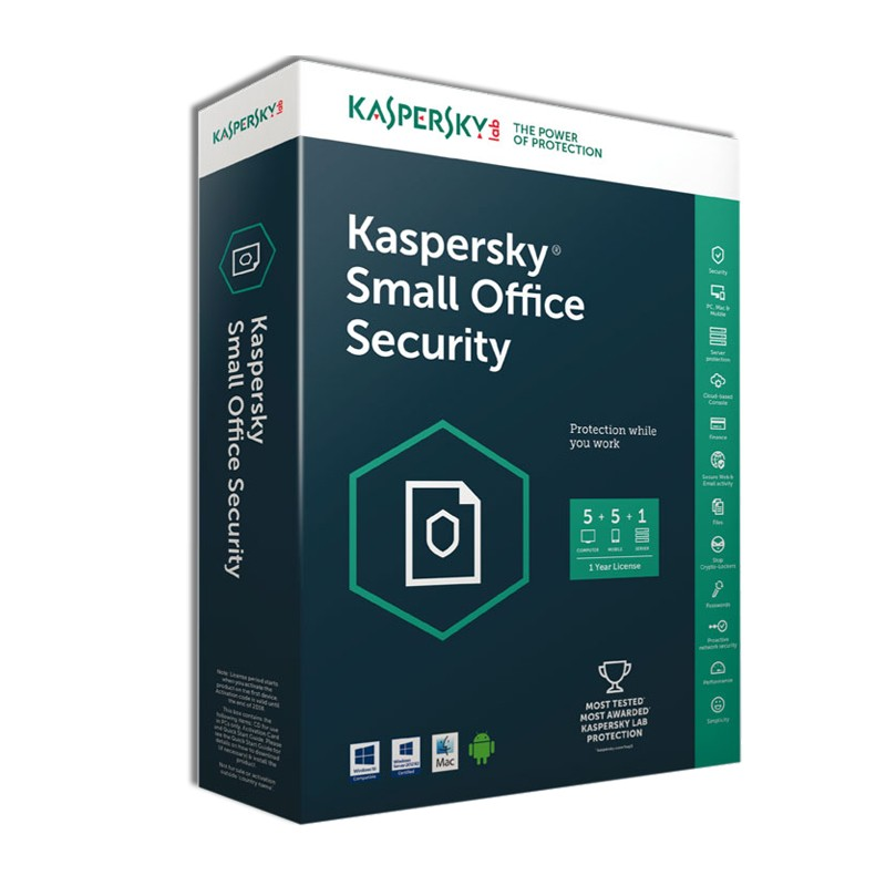 KASPERSKY - AntiVirus Small Office Security 5.0 ( 5 poste + 1 Serveur ) prix tunisie