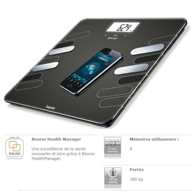 Beurer - Pèse Personne Connecté BF600 180 Kg - Bluetooth prix tunisie
