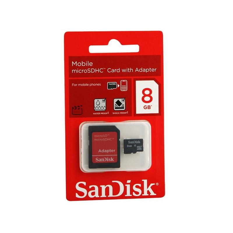 SANDISK - Micro SD 8Go avec Adaptateur SDSDQM008GB35A prix tunisie