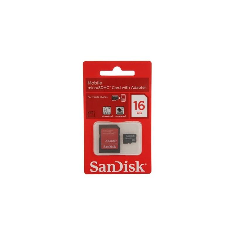 SANDISK - Micro SD 16Go avec Adaptateur SDSDQM016GB35A prix tunisie