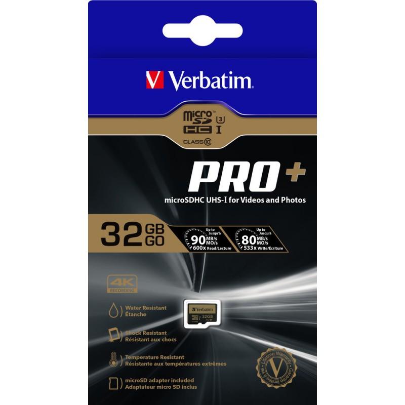 VERBATIM - CARTE MéMOIRE MICRO SDHC PRO+ U3 32GB AVEC ADAPTATEUR prix tunisie