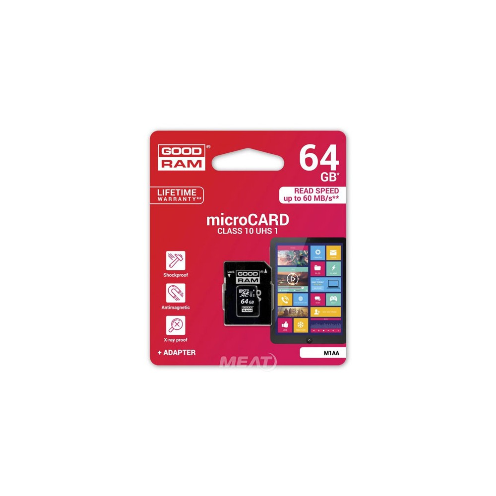 GOODRAM - MICRO SDXC 64GB CLASS 10 UHS I+ ADAPTER - M1AA-0640R11 prix tunisie